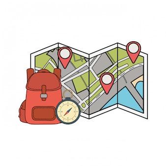 Reistas camping met kompas en papieren kaart
