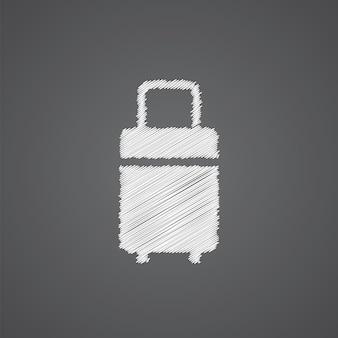Reistas schets logo doodle pictogram geïsoleerd op donkere achtergrond