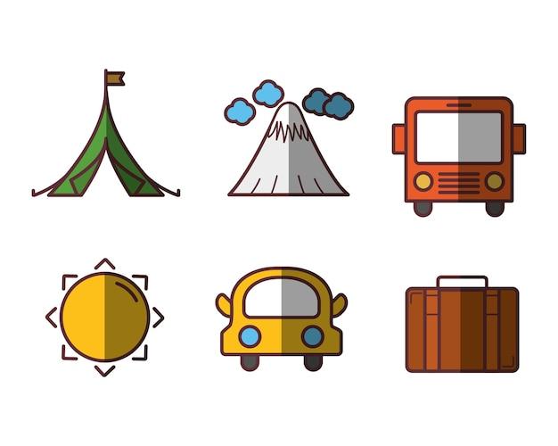 Reistijd gerelateerde pictogrammen