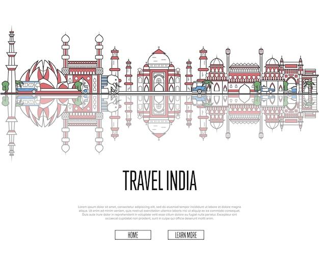 Reistour naar websjabloon india in lineaire stijl