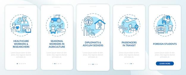 Reisverbod vrijstelling categorieën onboarding mobiele app pagina scherm met concepten
