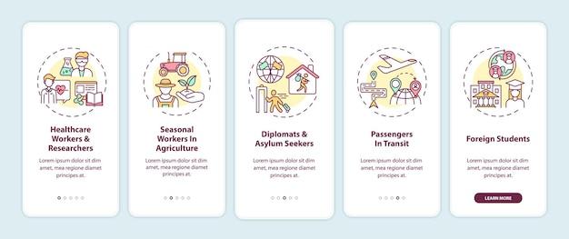 Reisverbod vrijstelling categorieën onboarding mobiele app pagina schermen ingesteld