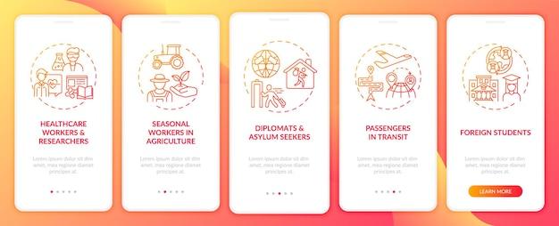 Reisverbodvrijstellingscategorieën onboarding mobiele app-paginascherm met concepten