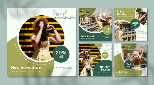 Reisverkoop instagram-berichten met fotopakket