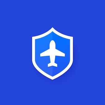 Reisverzekering pictogram met schild ontwerp