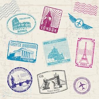 Reiszegels die met de oriëntatiepunten van de landen van europa worden geplaatst.