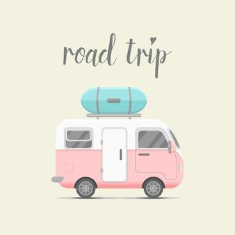 Reizen achtergrond met caravan aanhangwagen