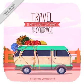Reizen achtergrond met caravan in uitstekende stijl