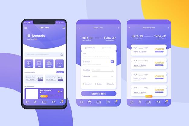 Reizen app-interface concept