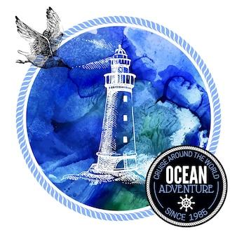 Reizen aquarel achtergrond. zee nautisch ontwerp. hand getrokken getextureerde schets vectorillustratie. typografisch ontwerp