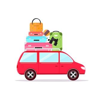 Reizen auto concept toerisme en vakantie samen vlakke stijl.