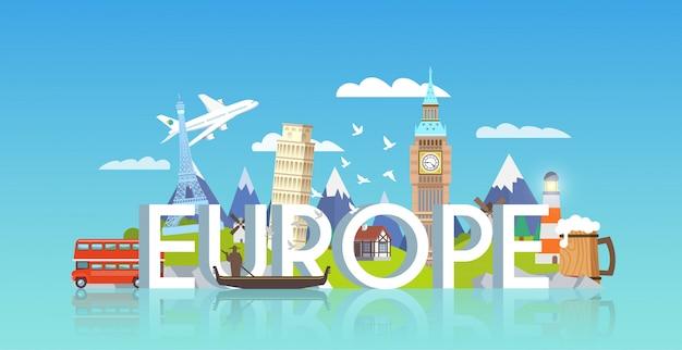 Reizen banner. reis naar europa.