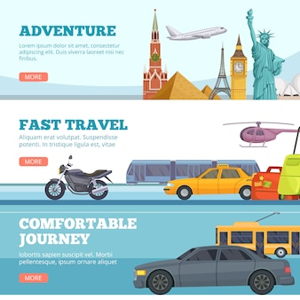 Reizen banners. globe avontuur vervoer reizigers oriëntatiepunten londen parijs new york rusland comfortabele auto's vliegtuig toeristen