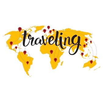 Reizen belettering over wereldkaart