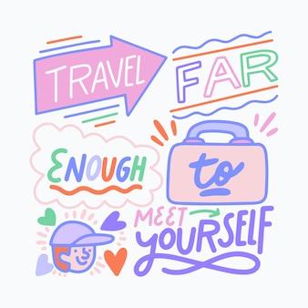Reizen belettering reizen ver genoeg en ontmoet jezelf