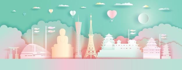 Reizen bezienswaardigheden japan architectuur met liefde ballonnen. papier gesneden stijl.