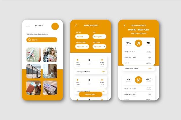 Reizen boeken app concept