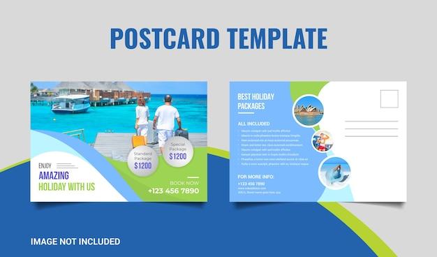 Reizen briefkaartsjabloon voor reisbureau