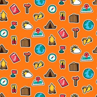 Reizen, camping stickers naadloze vector patroon. reis, toerisme. wandelpatches oranje achtergrond