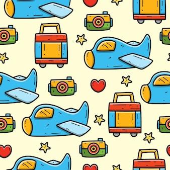 Reizen cartoon doodle naadloze patroon ontwerp