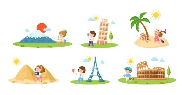 Reizen cartoon kinderen meisje en jongen