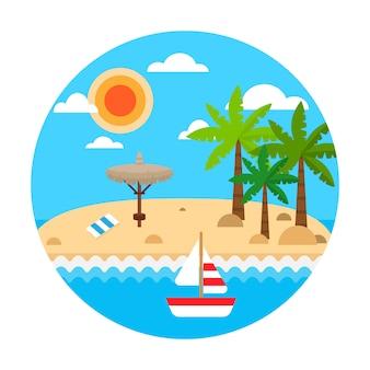 Reizen concept. zomervakantie op zandstrand. vector zomer reizen banner met golven, palm, stro paraplu's, zeilschip, wolken.