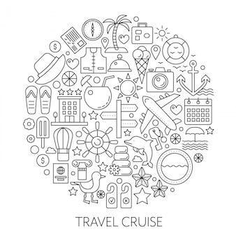 Reizen cruise dunne lijn vector concept