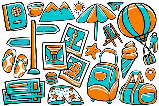 Reizen doodle in de hand getekende ontwerpstijl