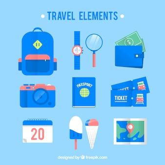 Reizen elementen collectie in vlakke stijl Gratis Vector