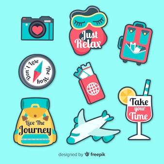 Reizen elementen stickers collectie