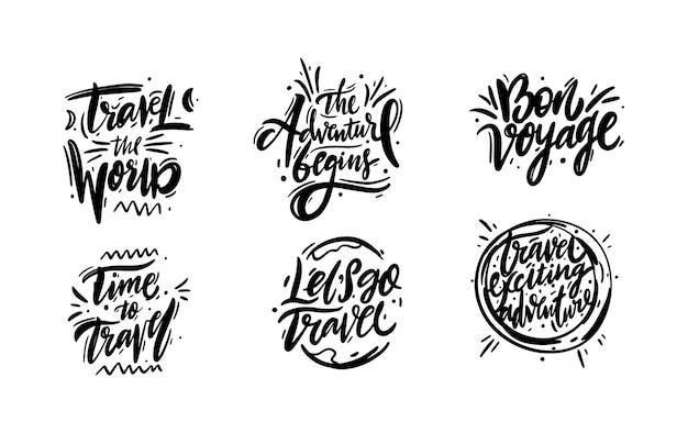 Reizen en avontuur zin hand getekend vector belettering. zwarte inkt. op wit wordt geïsoleerd. cartoon stijl.