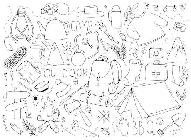 Reizen en kamperen in doodle stijl, lineaire tekening, illustratie van kinderen