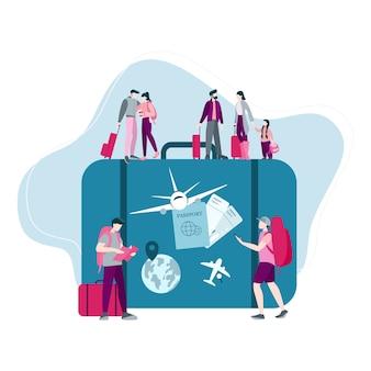 Reizen en toerisme concept. reis, koop vliegtuig over de hele wereld. illustratie