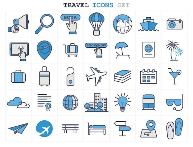 Reizen en toerisme lijn pictogrammen instellen platte ontwerp