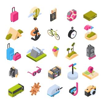Reizen en toerisme set isometrische pictogrammen kleurrijke zomer emblemen