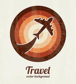 Reizen en vliegtuig over vintage achtergrond vectorillustratie