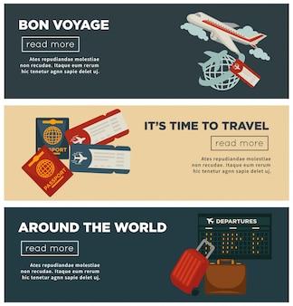 Reizen en wereld reis banners vector platte ontwerp van paspoort en reiziger bagage