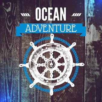 Reizen grunge achtergrond. zee nautisch ontwerp. hand getrokken getextureerde schets vectorillustratie. typografisch ontwerp