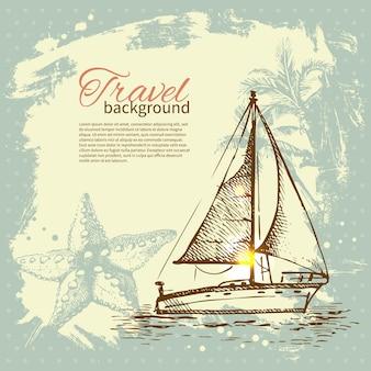 Reizen hand getekend vintage tropisch ontwerp. splash klodder retro achtergrond