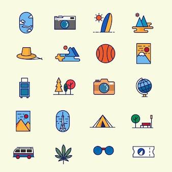 Reizen icon pack-set van reizen platte lijn toerisme pictogram in veel minimale moderne stijl