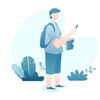 Reizen illustratie met jonge backpacker man houdt smartphone en boek