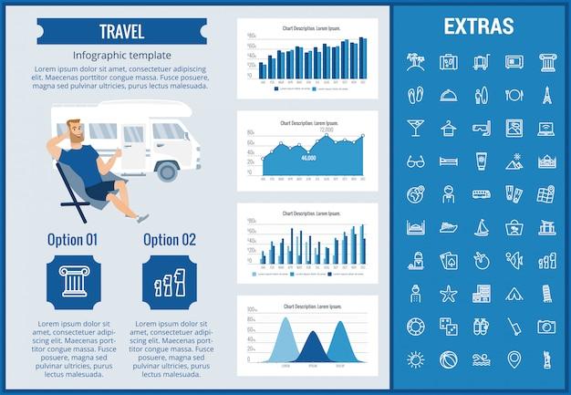 Reizen infographic sjabloon, elementen en pictogrammen