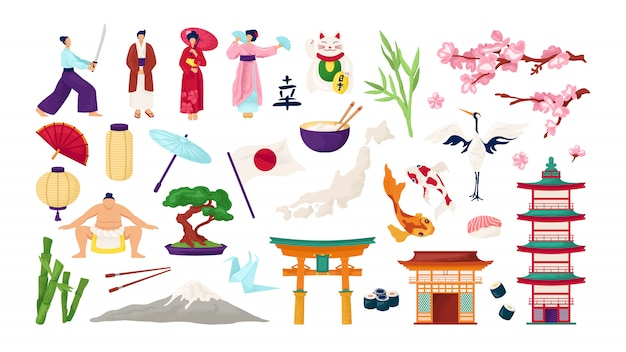 Reizen japan en japanse cultuur set van illustraties. traditionele symbolen van japanse architectuur, toriipoort, sakura, geisha en samurai. lantaarn, fuji, sushi en koikarpers.
