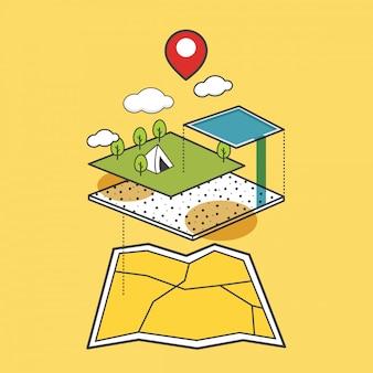 Reizen kaart pictogram vector illustratie concept