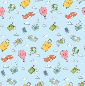 Reizen kawaii doodle naadloze patroon