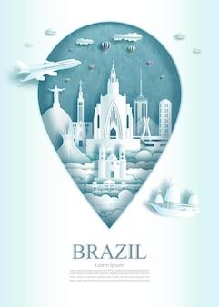Reizen landmark brazilië architectuur monument pin van brazilië in rio de janeiro beroemd met moderne en oude stadsbouw zakelijke bezienswaardigheden van architectuur. vector illustratie pin punt symbool.