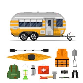Reizen leven flyer met camping trailer