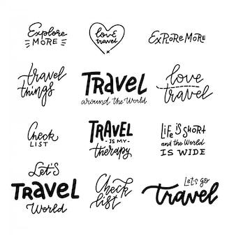 Reizen levensstijl inspiratie citaten belettering. motiverende citaat typografie.