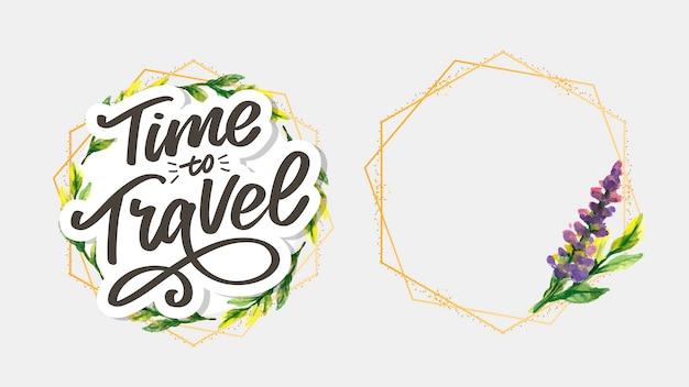 Reizen levensstijl inspiratie citeert belettering. motiverende typografie. kalligrafie grafisch element. verzamel momenten oude manieren openen geen nieuwe deuren. laten we gaan verkennen. elke foto vertelt een verhaal