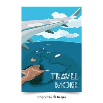 Reizen meer achtergrond met vliegtuig